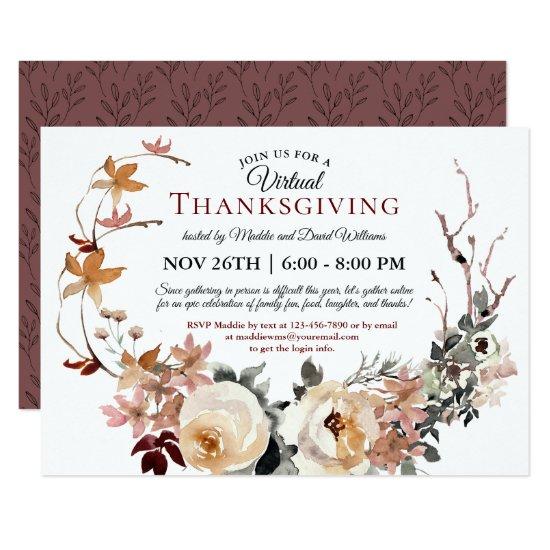 Rustic Fall Floral Wreath Virtual Thanksgiving Invitation
