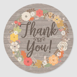 Rustic Fall Flowers Thank You Classic Round Sticker