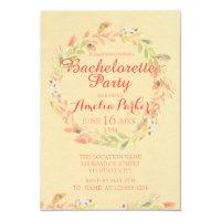 Rustic Fall Flowers Watercolor Bachelorette Party Invitation