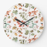 Rustic Fall Foliage Watercolor Pattern Large Clock