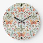 Rustic Fall Foliage Watercolor Pattern Teal Large Clock