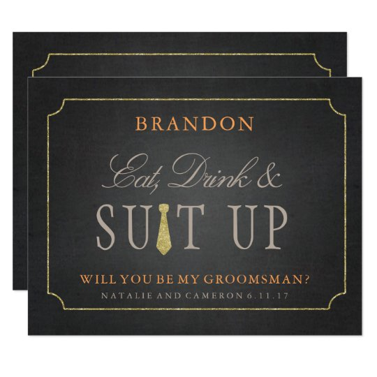 rustic fall gold chalkboard groomsmen invitation zazzle com