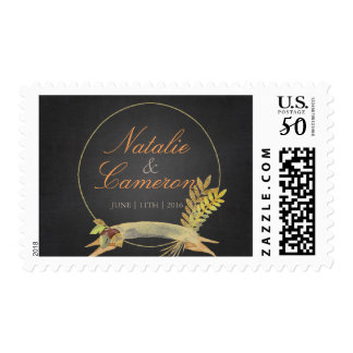 Rustic Fall Gold Chalkboard Watercolor Monogram Postage