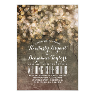 Rustic Fall Gold Glitter Lights Wood Wedding Card
