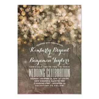 Rustic Fall Gold Glitter Lights Wood Wedding Card