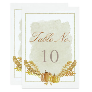Rustic Fall Gold Watercolor Table Number Card