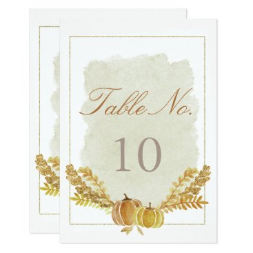 font themed Rustic Fall Gold Watercolor Table Number Card