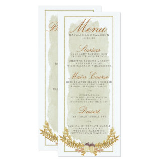 Rustic Fall Gold Watercolor Wedding Dinner Menu Card