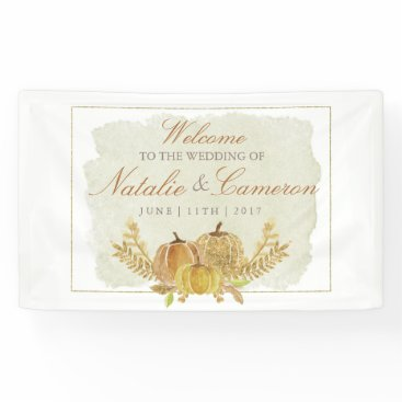 font themed Rustic Fall Gold Watercolor Wedding Monogram Banner