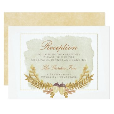 font themed Rustic Fall Gold Watercolor Wedding Reception Card