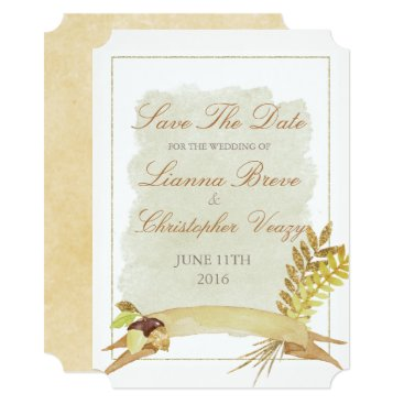 font themed Rustic Fall Gold Watercolor Wedding Save The Date Card