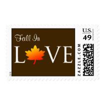 Rustic Fall In Love Autumn Wedding Invite Postage