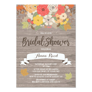 Rustic Fall in Love Bridal Shower Card