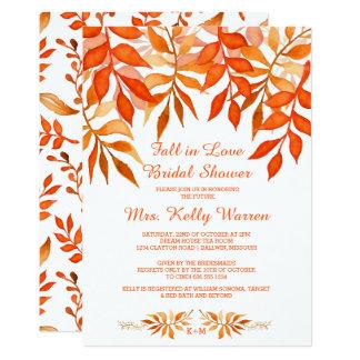 rustic fall in love bridal shower invitation