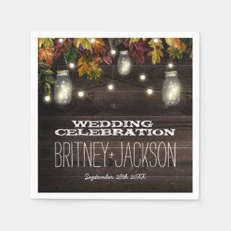 Rustic Fall Leaf Firefly Mason Jar Wedding Napkins