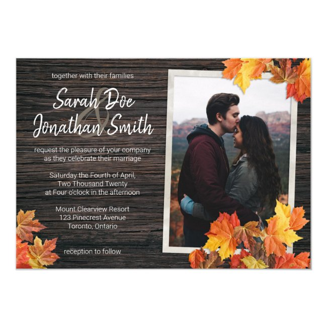 Rustic Fall Leaves and Wood Invitation