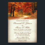 """Rustic Fall Leaves Autumn Wedding Invitations<br><div class=""""desc"""">Rustic Fall Leaves Autumn Country Road Wedding Invitations for a beautiful fall wedding invitation. Use this invitation template to create your own personalized wedding invitations for a fall wedding. You can also add additional text to the back of the invite, if needed, by using the &quot;Customize It&quot; button. Coordinating wedding...</div>"""
