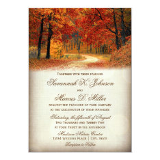 Rustic Fall Leaves Autumn Wedding Invitations at Zazzle
