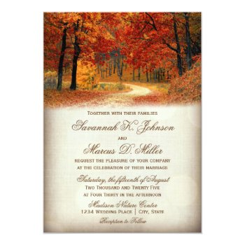 Rustic Fall Leaves Autumn Wedding Invitations by WillowTreePrints at Zazzle