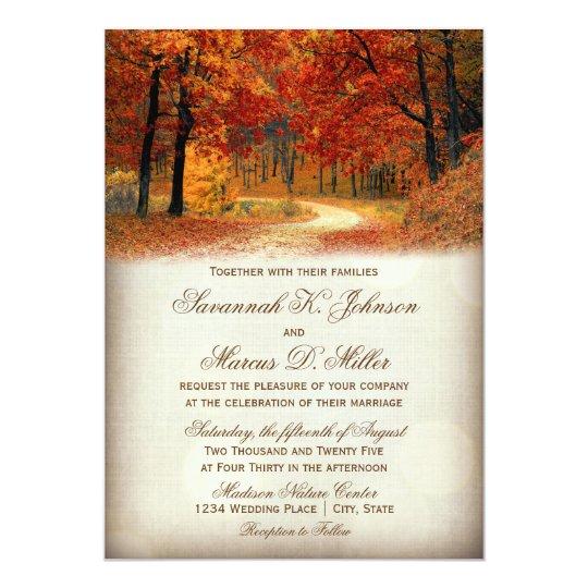 Rustic Fall Leaves Autumn Wedding Invitations Zazzlecom