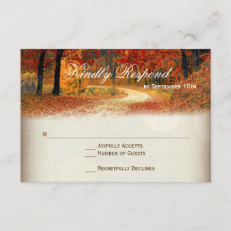 Rustic Fall Leaves Autumn Wedding RSVP Cards