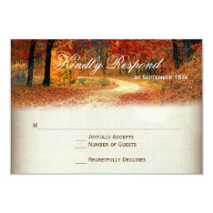Rustic Fall Leaves Autumn Wedding Rsvp Cards at Zazzle