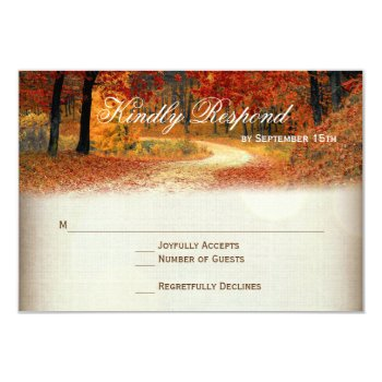 Rustic Fall Leaves Autumn Wedding Rsvp Cards by WillowTreePrints at Zazzle