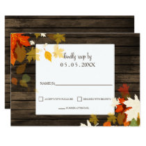 Rustic Fall leaves Barn Wood Fall Wedding rsvp Card