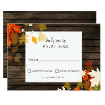 Rustic Fall leaves Barn Wood Fall Wedding rsvp Card
