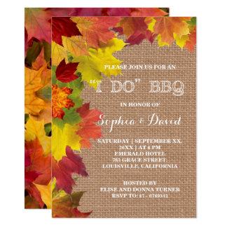 Rustic Fall Leaves Burlap I DO BBQ Invitation