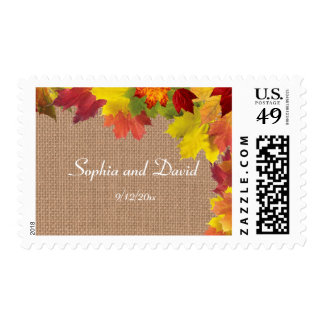 Rustic Fall Leaves Burlap Stamp