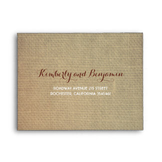 Rustic Fall Leaves Burlap Texture Wedding RSVP Envelope