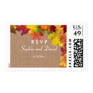 Rustic Fall Leaves Burlap Wedding Custom RSVP Postage