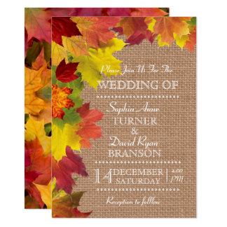 Rustic Fall Leaves Burlap Wedding Invitation