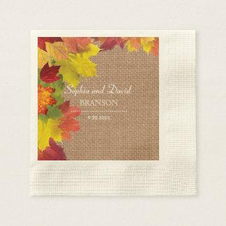 Rustic Fall Leaves Burlap Wedding Paper Napkin