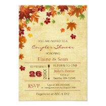 Rustic Fall Leaves Fall Bridal Shower Card
