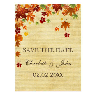 Rustic ,fall leaves fall save the Date Postcard