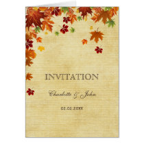 Rustic,fall leaves, fall wedding  invitations