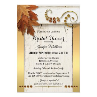Rustic Fall Leaves Gold Bridal Shower Invitation