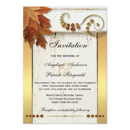 Rustic Fall Leaves Gold Wedding Invitation