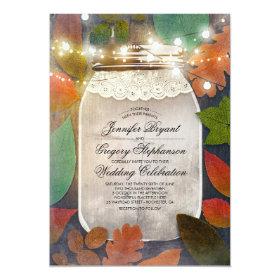 Rustic Fall Leaves Mason Jar String Lights Wedding Card
