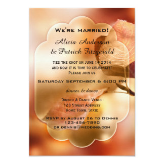 Rustic Fall Leaves Post Wedding Party Invite Invite