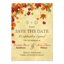 Rustic ,fall leaves save the date magnetic card