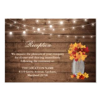 Rustic Fall Leaves String Light Wedding Reception Card
