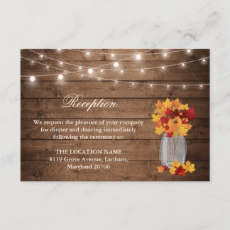 Rustic Fall Leaves String Light Wedding Reception Enclosure Card
