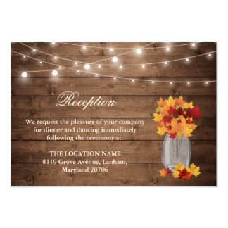 Rustic Fall Leaves String Light Wedding Reception Invitation
