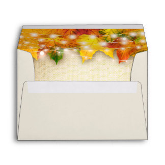 Rustic Fall Leaves String Lights Return Address Envelope