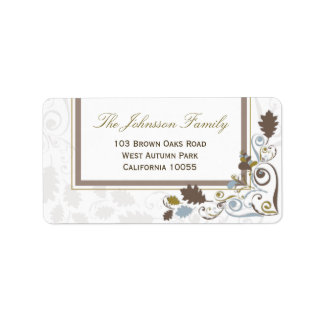 Rustic Fall Leaves Swirls Holiday Address Labels