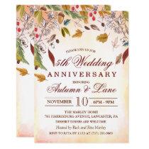 Rustic Fall Leaves Wedding Anniversary Invitation