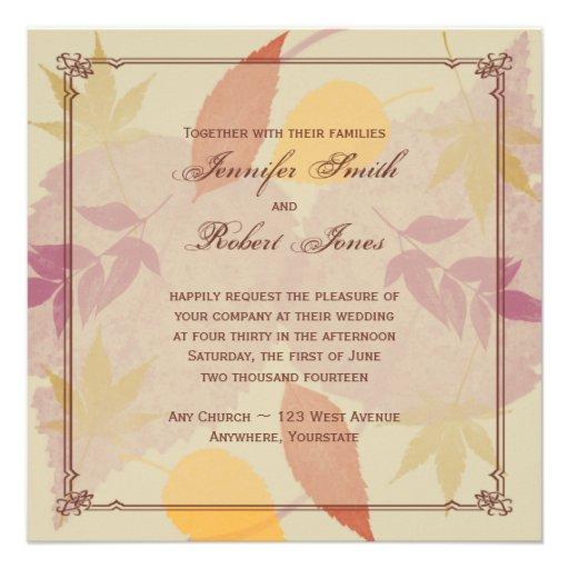 Rustic Fall Leaves Wedding Invitation